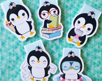 Precious Penguins Magnetic Bookmark Set