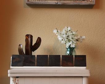 "6 Wooden Coasters - Blank - Dark Walnut 3.5""x3.5"""