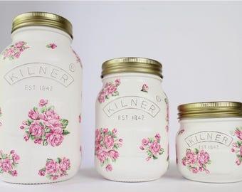 Pink Rose Floral Kilner Jars