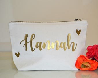 Cream cosmetic makeup bag wedding favours wedding gift anniversary gift personalised make up bag