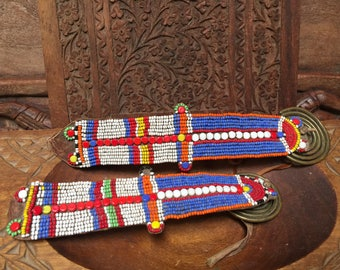 Old Collectable Vintage Masai Tribal Hand Beaded Earrings from Kenya