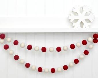 Rustic Christmas Decorations, Red and White Christmas Garland, Red and Cream Holiday Decor, Felt Ball Garland, Tree Decorations, Pom Pom Gar
