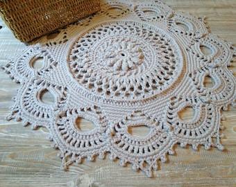 Doily crochet rug Crochet carpet Round mat rug Doily carpet Rug 27 inch Crochet lace rug Circle crochet rug Crochet doily rug Circle rug