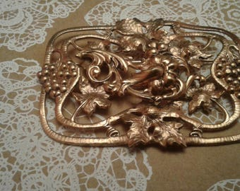 Large Rectangular Goldtone Reproduction Art Nouveau Brooch With Grape Leaves and Bunches