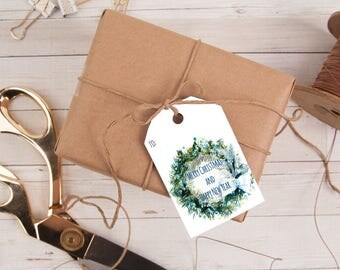 Personalized Gift Tag, Blue Wreath