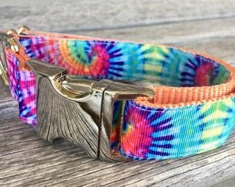 """Tie Dye 1"""" Wide Dog Collar, Colorful Dog Collar, Large Dog Collar, Silver Hardware Nylon Webbing Dog Collar"""
