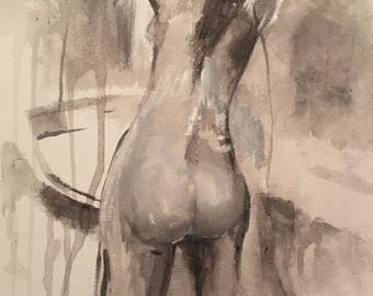 Beautiful nude painting of woman in acrylic paint / Original artwork / Figure drawing painting / Naked woman artwork / Nude shower artwork