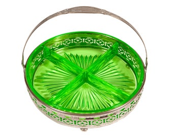 FREE SHIPPING: Vintage Green Glass Divided Round Dish with Silver Plated Folding Handle Carrier