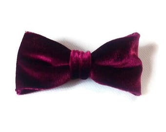 VELVET dog bow tie , burgandy wedding ,  weddings dog accessories , ring bearer outfit  , adult , kids  , attached  FREE GIFT