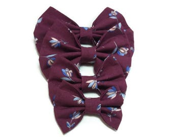 burgundyfloral bow ties wedding , for dog , for cat , ring bearer outfit , matching pet owner FREE GIFT