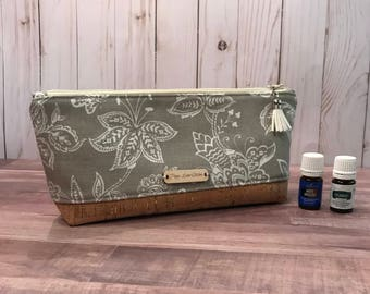 Perfect Essential Oil Pouch /Taupe floral EO bag