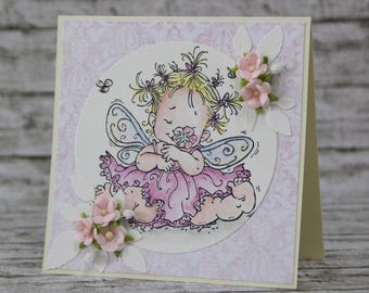 Card with lovely fairy and flowers