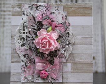 Romantic card with big pink rose nr 2
