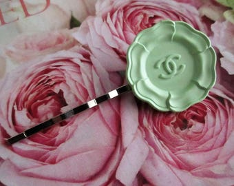 RARE Vintage Authentic Chanel CC Camellia Flower Hair Clip Bobby Pins Barrette ~ Fresh Mint Green for Summer!