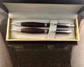 Purpleheart Pen and Pencil Set with chrome accents, purple heart wood pen, Mechanical Pencil, Chrome Pen, Chrome Pencil, Set with Gift Box