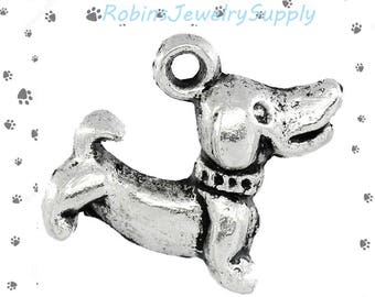 10 pcs - Antique Silver - Dog Charms - Animal Charms - Bracelet Charms - Necklace Charms - Jewerly Supplies - Purse Charms - Charms - C0085