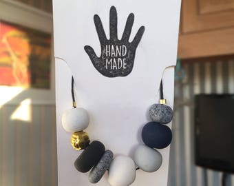 Hand crafted pebble statement necklace