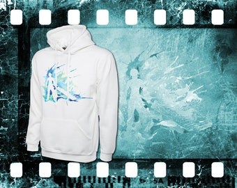 Original Art Inspired by FINAL FANTASY - CLOUD - White Hooded Top