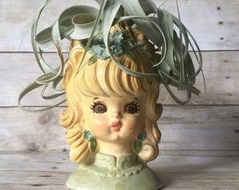 Vintage Girl Head Vase Planter by Lefton - Retro Modern Planter
