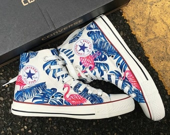 Custom Flamingo Painted Sneakers, Custom Flamingo Handpainted Converse, Custom Floral Painted Shoes, Custom Flamingo Handpainted Shoes