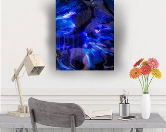 Thalassophobia--abstract acrylic and resin painting | deep ocean art | deep, shimmering purples, blues & pearl whites | space art