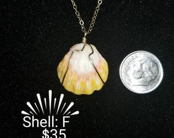 Gold filled filled wire wrapped sunrise shell on gold filled chain