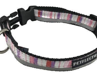 Pink and Purple Vertical Striped Reflective Dog Collar