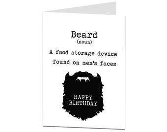 Beard Birthday Card. BF Birthday Card. Husband Birthday Card. Birthday Card For Him Men Dad. Brother Birthday Card. Respect The Beard.