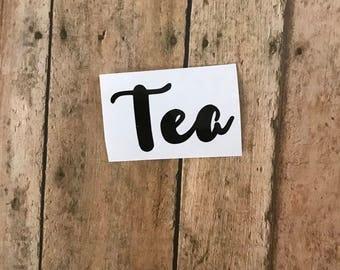 Tea label, Tea decal, Kitchen label, Kitchen decal, Pantry label, Pantry decal, Canister label, Canister decal, Jar label, Jar decal