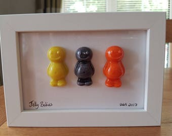 Jelly Babies, jelly baby, glass art, glass jelly babies, framed jelly babies, sweets, fun, framed picture, hand made, fused glass, unique