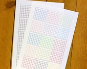 Mini Calendar Grid Sticker Printable for Bullet Journal Planner - Rainbow colors and Black Grid Habit Tracker