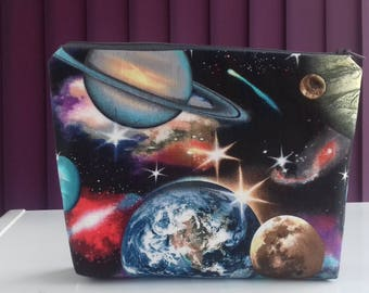 Planets, space, galaxy makeup bag, cosmetics bag, toiletries bag