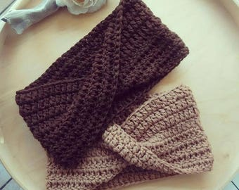 Enveloping band Big ear flap headband cozy winter wool yarn chocolate caramel Turban MAXI