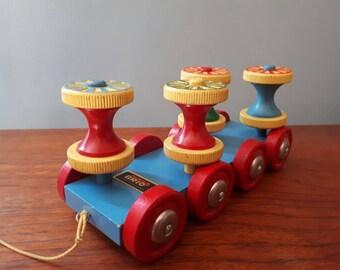 Vintage Brio Pull Along Toy Cotton Reel Train
