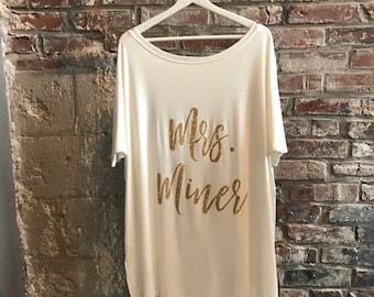 Honeymoon Shirt, Bride Shirt, Bridal Wear, Mrs. Shirt, Wedding Day Shirt, Custom Shirt, Custom Tunic, Mrs., Bride Tunic