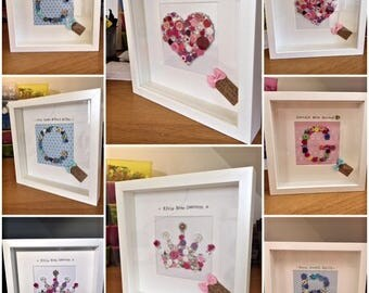 Personalised new baby button art frame