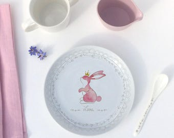 Personalized Bunny porcelain plate