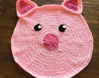 piggy play rug, nursery rug, pig rug, little piggy play room rug, kitchen rug, kids room rug, crochet pig play rug
