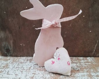 Easter Bunny Ornament, Stargazing Bunny, Hand painted  Easter Decoration, Nursery Decoration, Easter Gift, Bunny Lover Gift, Rabbit Ornament