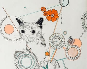 Original drawing of a cat with design elements