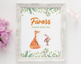 Fox birthday sign, Woodland party sign, Fox party favors sign, Printable Woodland decorations, Woodland party decorations, Fox decorations