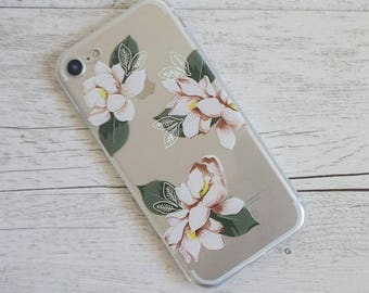 White Flowers Floral Design Soft iPhone Mobile Phone Case - for; iPhone 5/5s, 6/6s, 6/6s Plus, SE, 7 & 8