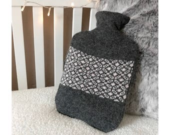 Grey Sherbet Daisy Design Hot Water Bottle Cover Knitted in Supersoft Lambswool