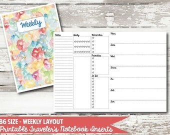 B6 Size - Week on 2 Page PRINTABLE Insert for Traveler's Notebooks
