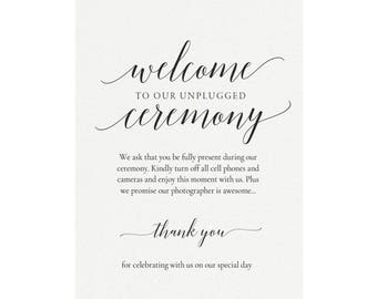 Adel: Printable Unplugged Sign Template, No Cell Phone, No Cameras, No Photos, Wedding Sign, Template, Ceremony Sign, PDF Instant Download,