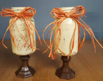 Fall Mason Jar Candle Holders, Wedding, Center Piece, Fall Decor