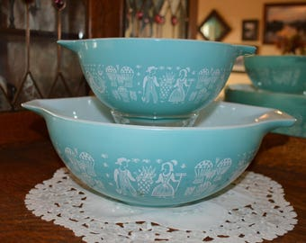 Vintage Butterprint Pyrex Bowls, Amish Turquoise, Cinderella Mixing Bowls, Nesting, Mid Century, 442 & 444,1950s, Gift for Her, Gift for Him