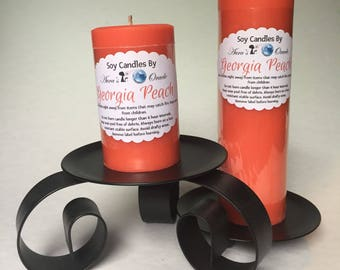 Georgia Peach Scented Soy Wax Pillar Candles