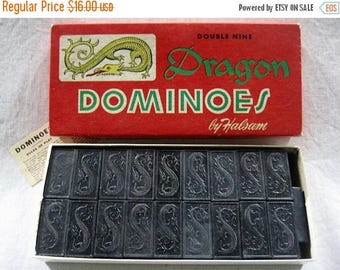 Christmas In July Sale Dragon Dominoes, Halsam, Double Nine, #920, 55 Pieces, Vintage Game, 1950's, Made in USA