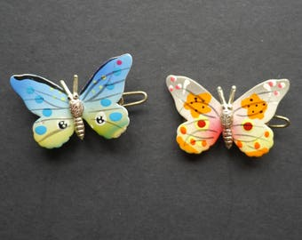 Two painted vintage butterfly hair clips
